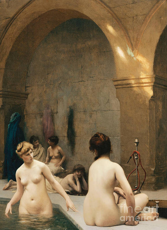 Academic Art Print featuring the painting The Bathers by Jean Leon Gerome