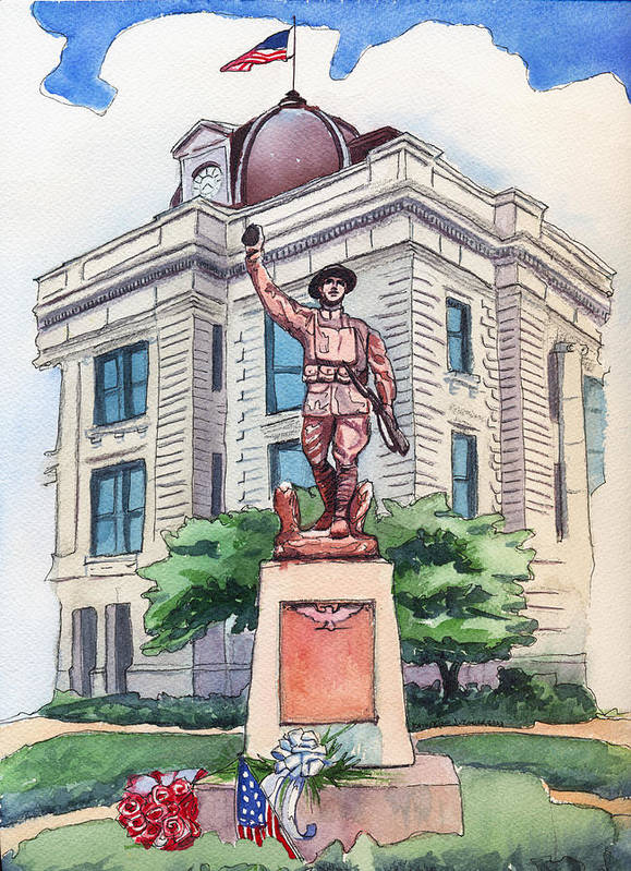 Doughboy Statue Art Print featuring the painting The Doughboy Statue by Katherine Miller