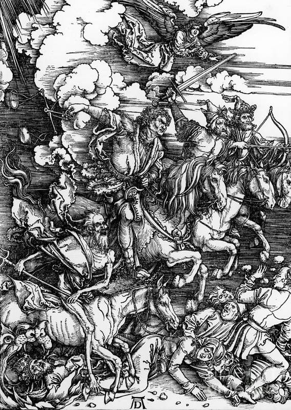 4 Art Print featuring the painting The Four Horsemen Of The Apocalypse by Albrecht Durer