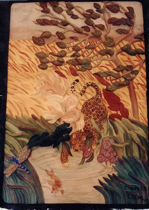 Ceramic Art Print featuring the ceramic art The Jaguar by Charles Lucas