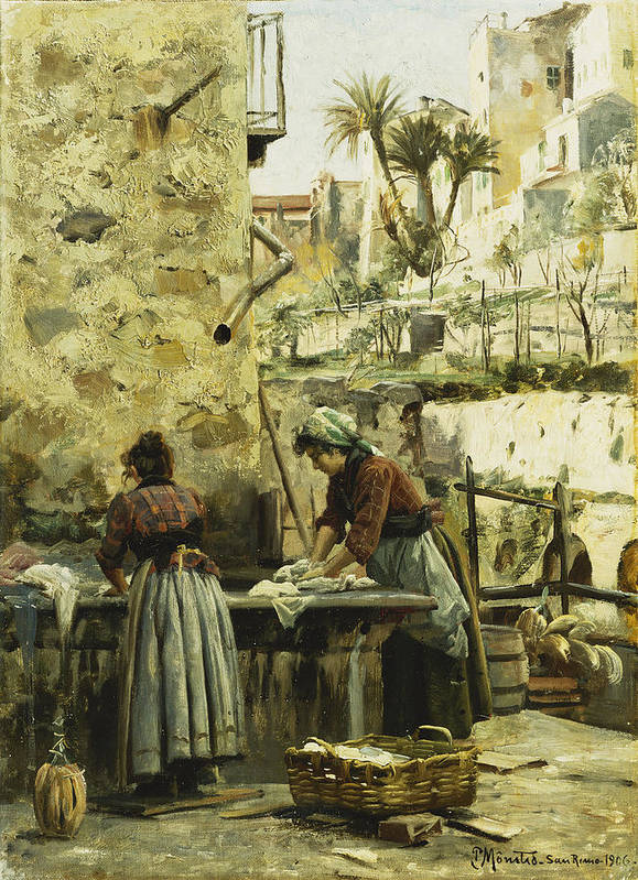 1900s Art Print featuring the painting The Washerwomen by Peder Monsted