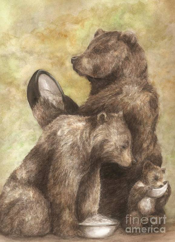 Bears Print featuring the painting Three Bears by Meagan Visser