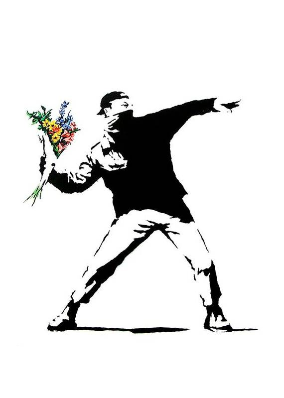 Banksy Art Print featuring the photograph Throwing Love by Munir Alawi