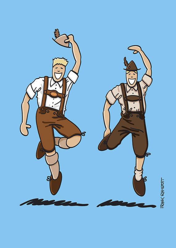 Frank Ramspott Print featuring the drawing Two Bavarian Lederhosen Men by Frank Ramspott