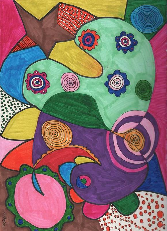 Expressive Art Art Print featuring the drawing Untitled #8 by Phyllis Anne Taylor Pannet Art Studio