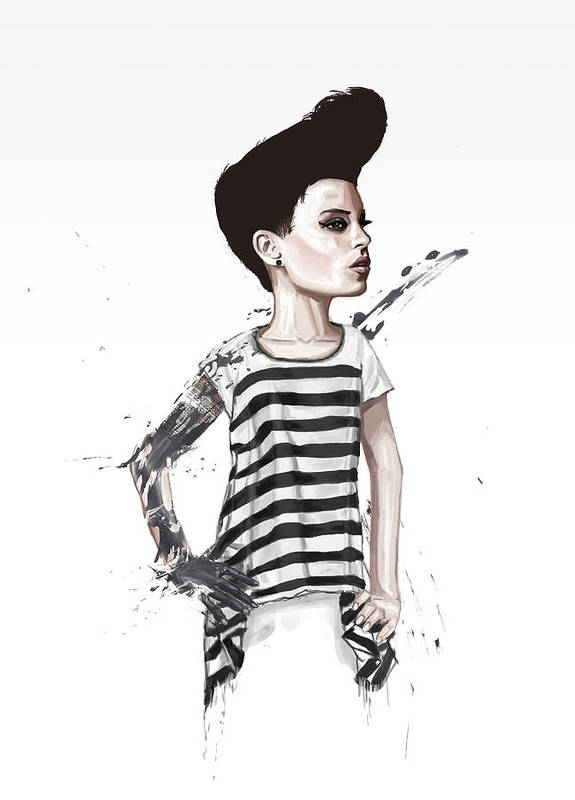 Girl Print featuring the digital art untitled II by Balazs Solti