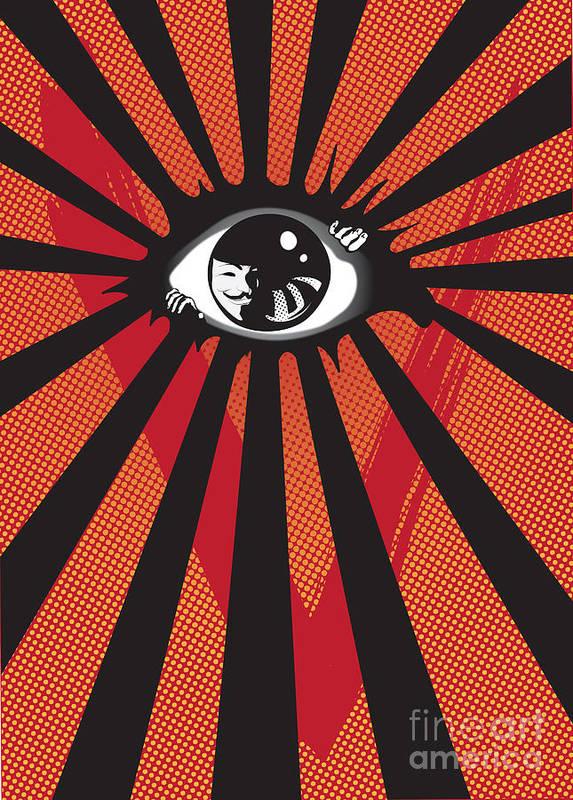 Eyes Art Print featuring the digital art Vendetta2 Eyeball by Sassan Filsoof