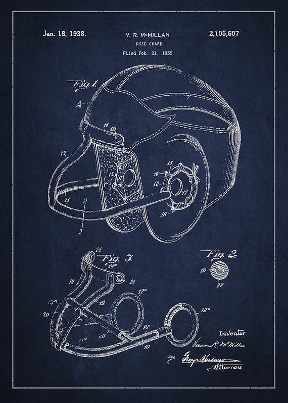 Football Art Print featuring the drawing Vintage Football Helment Patent Drawing From 1935 by Aged Pixel