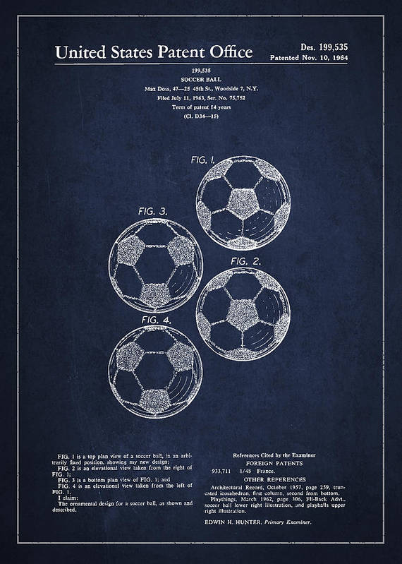 Soccer Art Print featuring the drawing Vintage Soccer Ball Patent Drawing From 1964 by Aged Pixel