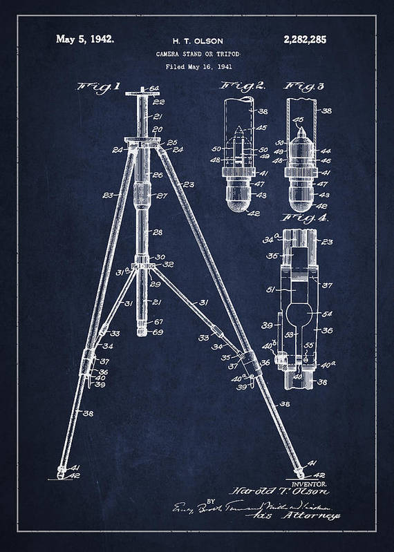 Tripod Art Print featuring the drawing Vintage Tripod Patent Drawing From 1941 by Aged Pixel