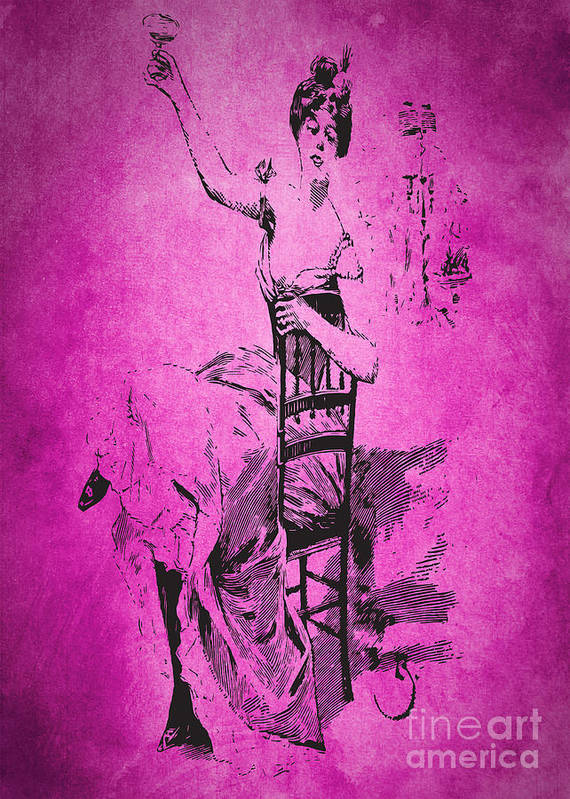 Beautiful Art Print featuring the digital art Vintage Women Color Art 55 by Boon Mee