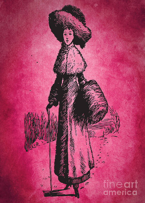 Beautiful Art Print featuring the digital art Vintage Women Color Art 72 by Boon Mee