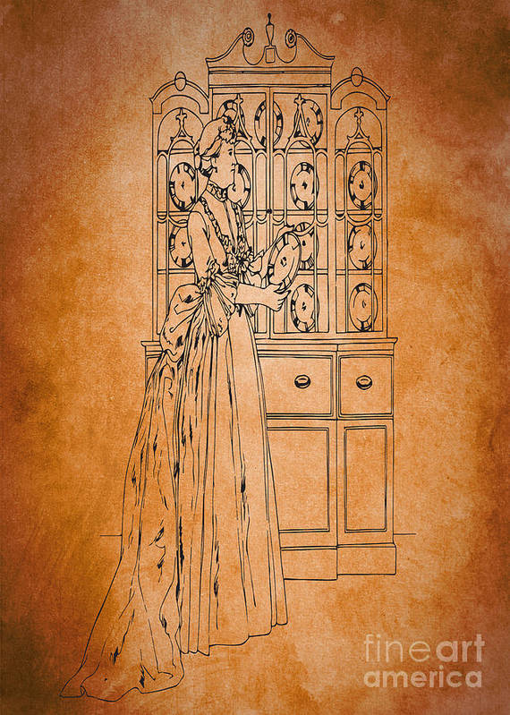 Beautiful Art Print featuring the digital art Vintage Women Color Art 76 by Boon Mee