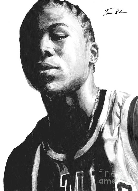 Nba Print featuring the drawing Wagner by Tamir Barkan