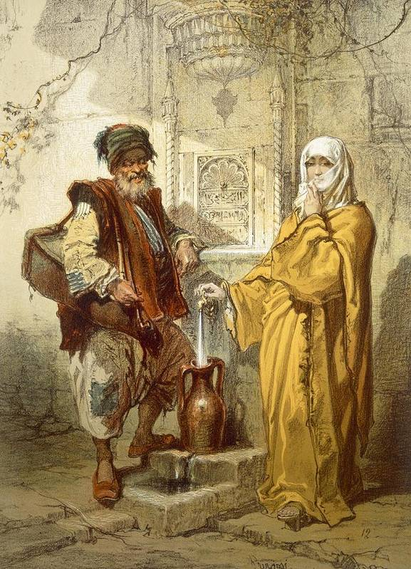 Turkey Art Print featuring the drawing Water-carrier, 1865 by Amadeo Preziosi