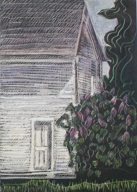 Maine Landscape Art Print featuring the drawing When Lilacs Last... by Grace Keown
