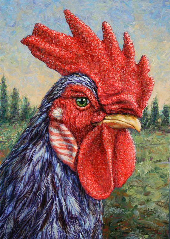 Rooster Print featuring the painting Wild Blue Rooster by James W Johnson