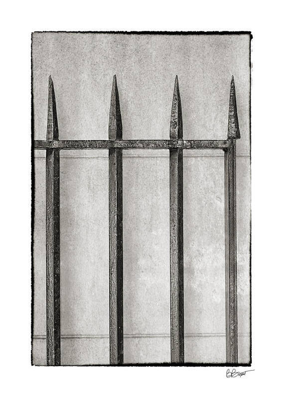 New Orleans Art Print featuring the photograph Wrought Iron Gate In Black And White by Brenda Bryant