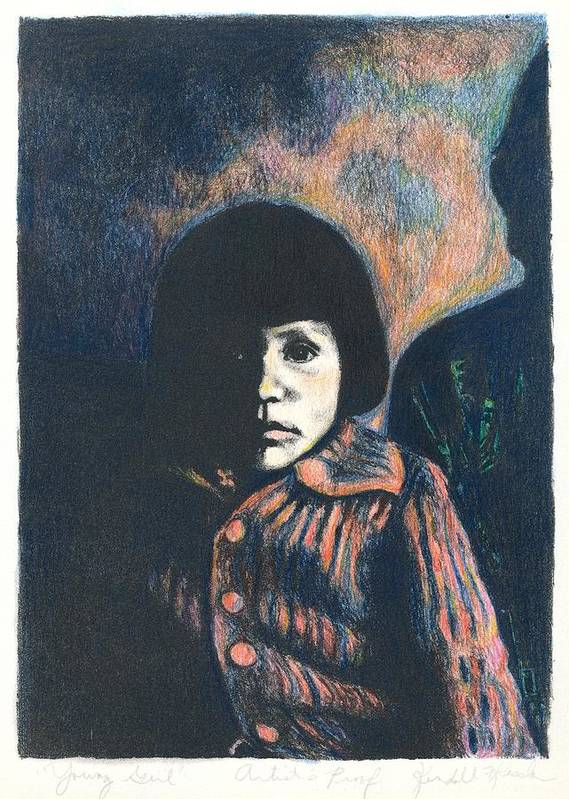 Girl Art Print featuring the drawing Young Girl by Kendall Kessler