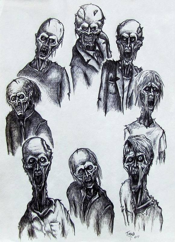 Michael Art Print featuring the drawing Zombies by Michael TMAD Finney