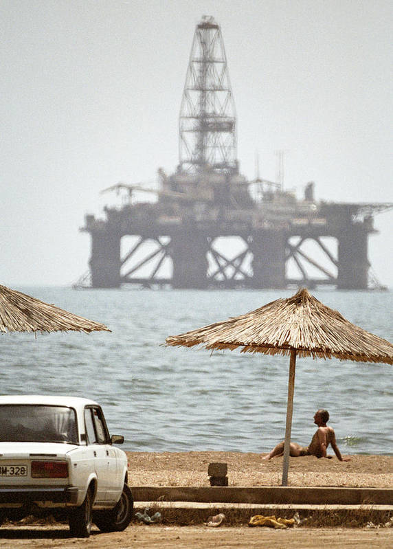 Beach Umbrella Art Print featuring the photograph Caspian Sea Oil Rig by Ria Novosti