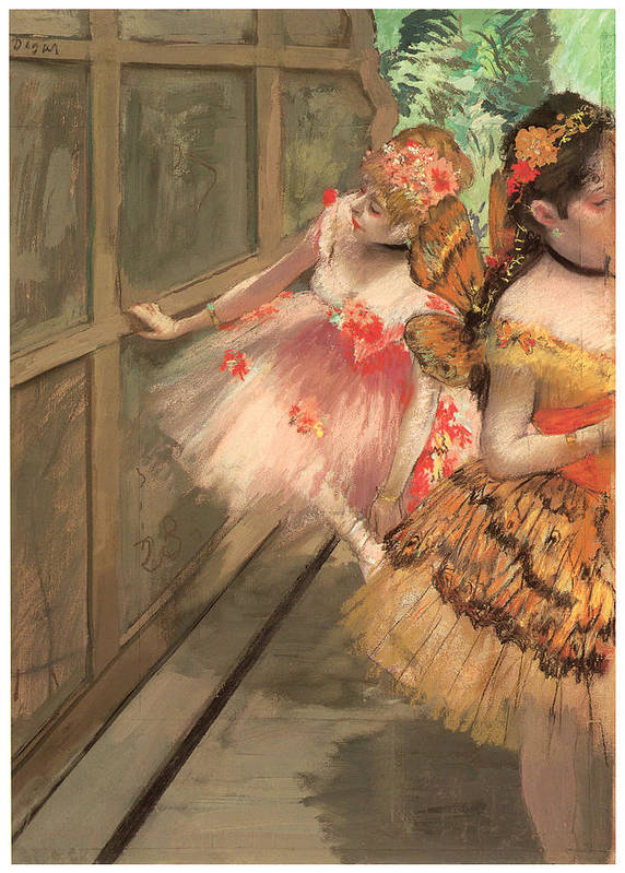 Dancers In The Wings Art Print featuring the painting Dancers In The Wings by Edgar Degas
