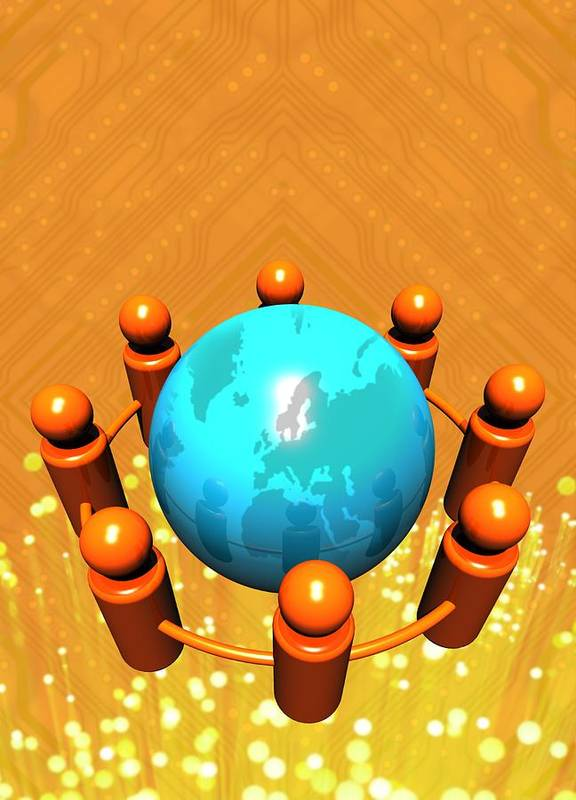 Planet Art Print featuring the photograph Social Networking, Conceptual Image by Victor Habbick Visions