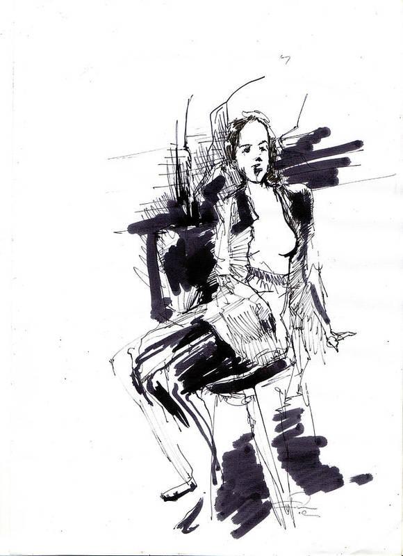 Model Art Print featuring the drawing Model by Ertan Aktas
