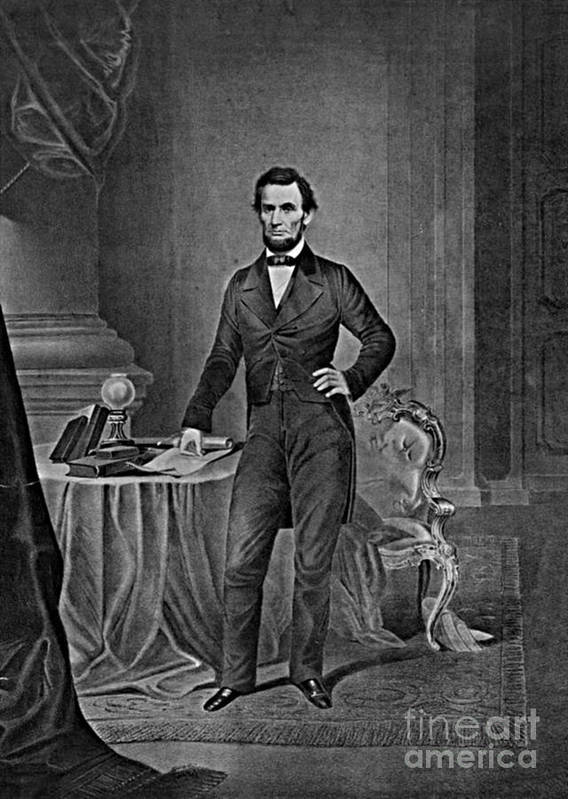 History Print featuring the photograph Abraham Lincoln, 16th American President by Photo Researchers