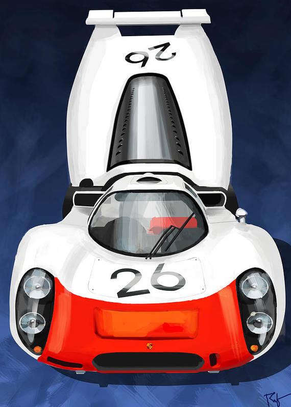Porsche 908 Art Print featuring the digital art 908 Protype by Ron Riffle