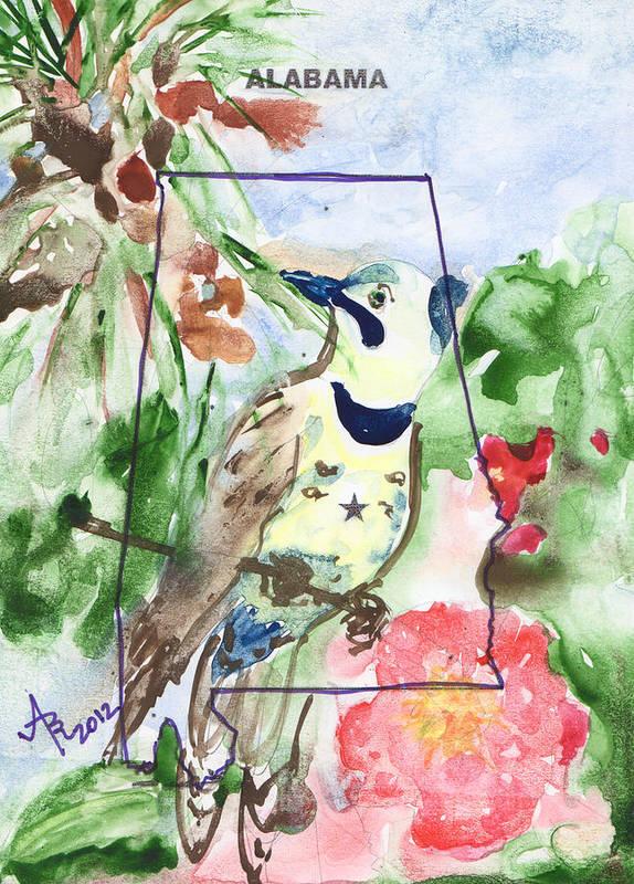 alabama state tree bird flower art print by anna ruzsan