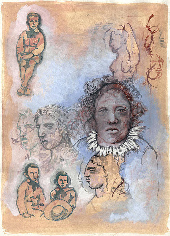 Mixed Art Print featuring the drawing Becoming The Other by Chrystle Wolff