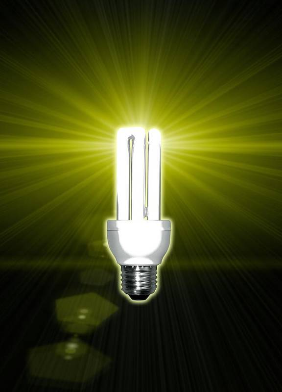 Light Bulb Art Print featuring the photograph Bright Idea, Conceptual Artwork by Victor Habbick Visions