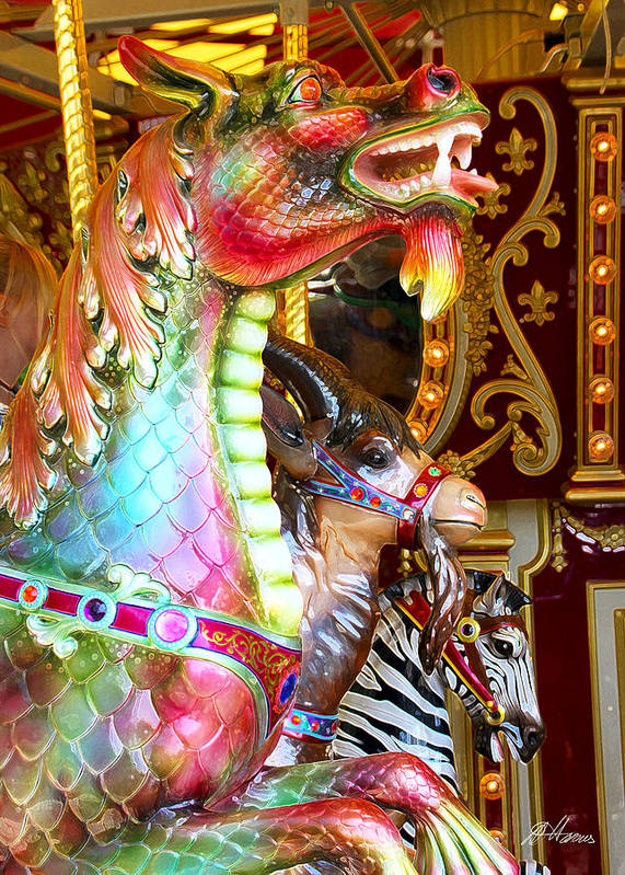 Carousel Art Print featuring the photograph Carousel Dragon by Diana Haronis