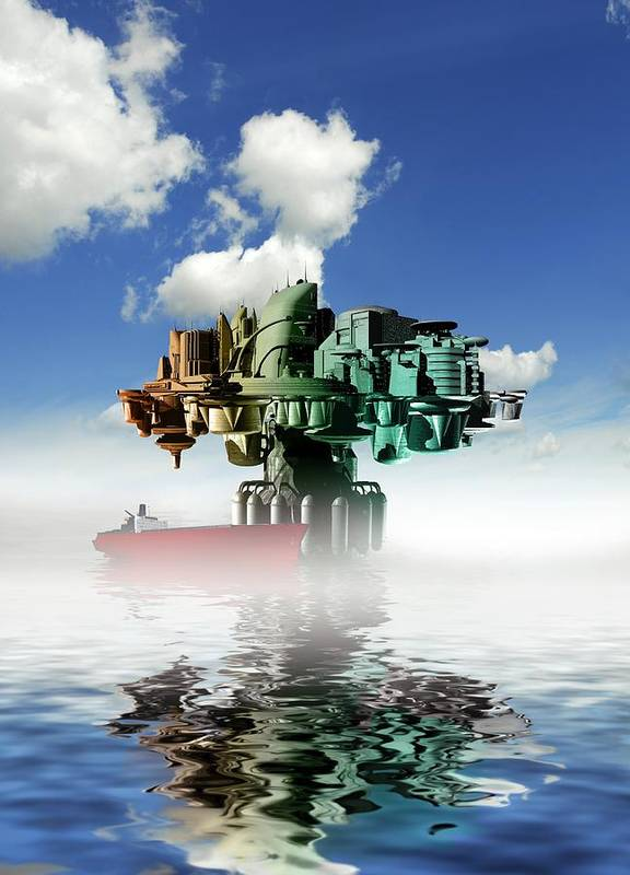 Illustration Art Print featuring the photograph City At Sea, Artwork by Victor Habbick Visions