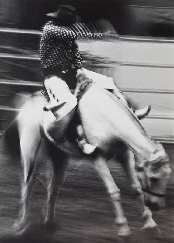 Cowboy Riding Bucking Horse Art Print featuring the photograph Cowboy Riding Bucking Horse by Garry Gay