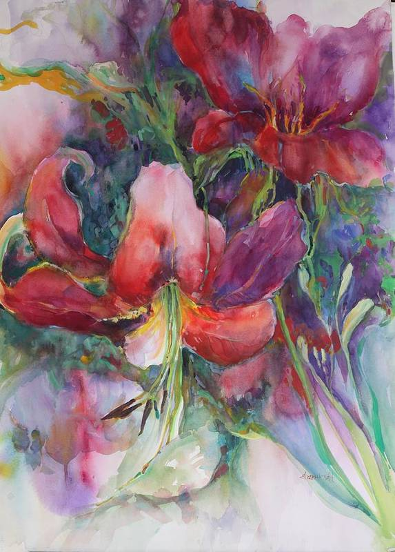 Watercolor Floral Art Print featuring the painting Dramatic Lilies by Elizabeth Taft