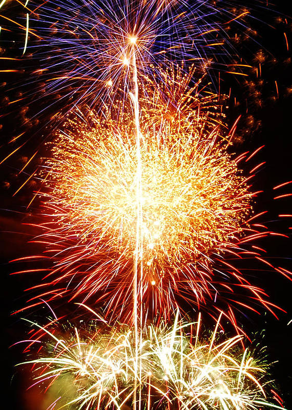 Fireworks Art Print featuring the photograph Fireworks_1591 by Michael Peychich