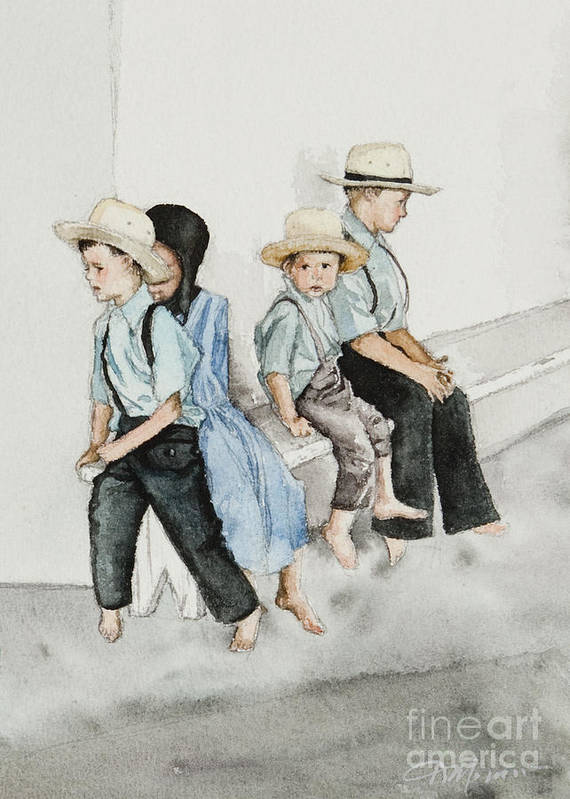 Amish Art Print featuring the digital art Frytown Auction by Kelly Morrow