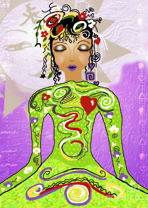 Yoga Art Print featuring the digital art Goddess Of Yoga by Gia Simone