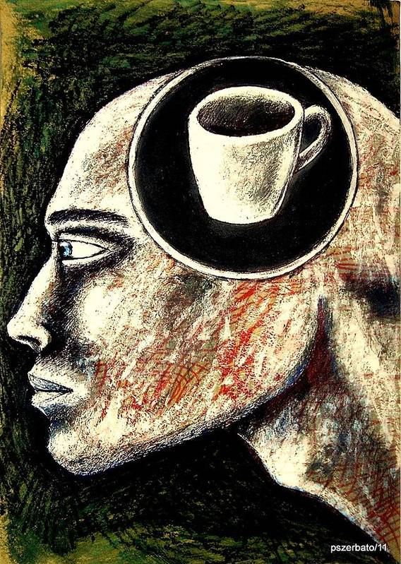 Half Cup Of Stupidity Art Print featuring the digital art Half Cup Of Stupidity by Paulo Zerbato