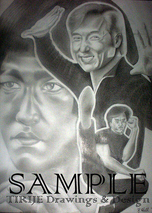 Portraits Art Print featuring the drawing Jackie Chan And Bruce by Rick Hill