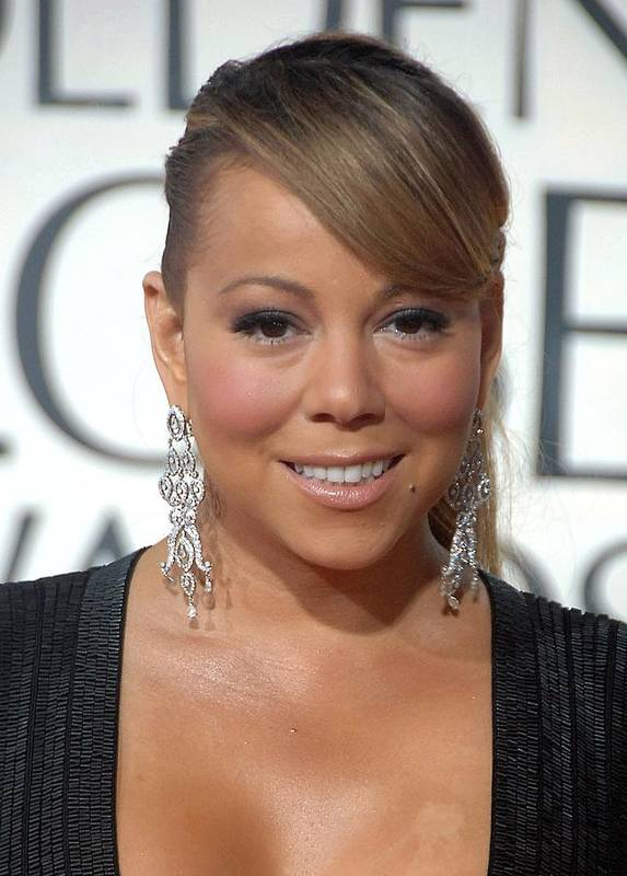 Mariah Carey Print featuring the photograph Mariah Carey Wearing Chopard Earrings by Everett