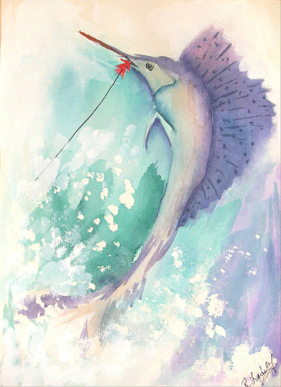 Marlin Art Print featuring the painting Marlin On The Hook by Rob Ladely