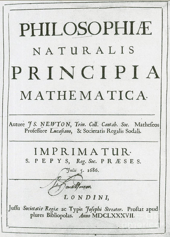 Art Art Print featuring the photograph Newtons Principia, Title Page by Science Source