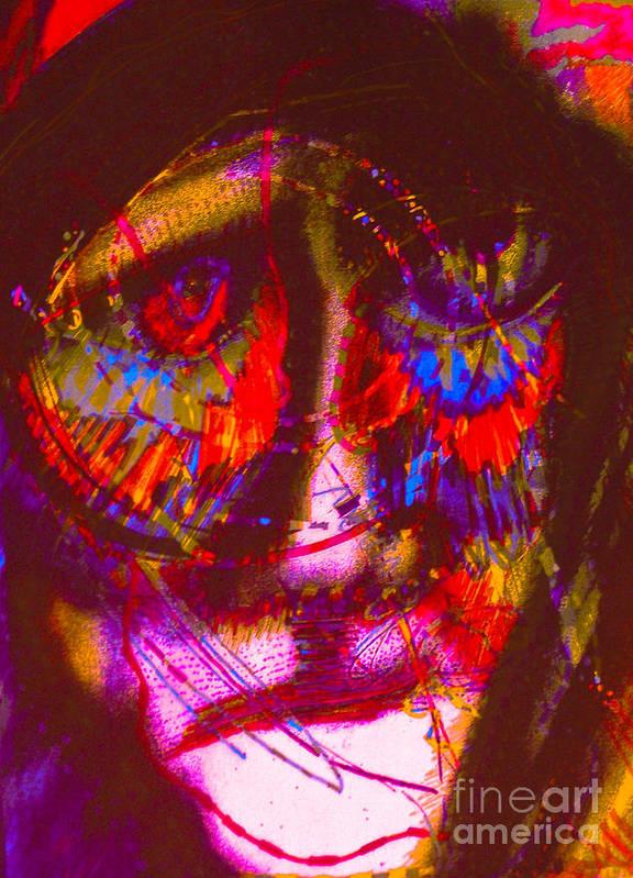 Outsider Artist. Art Print featuring the mixed media Pastel Man 20 by Bill Davis