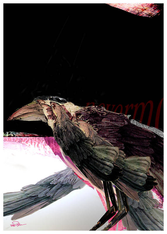 Bird Art Print featuring the digital art Quote The Raven by James VerDoorn