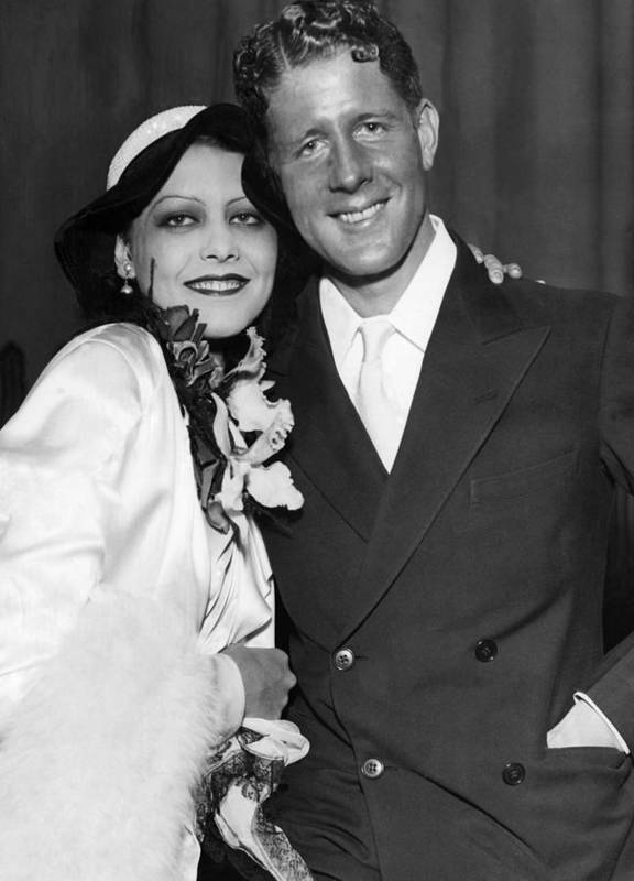 1930s Print featuring the photograph Rudy Vallee Right, And His Wife, Fay by Everett