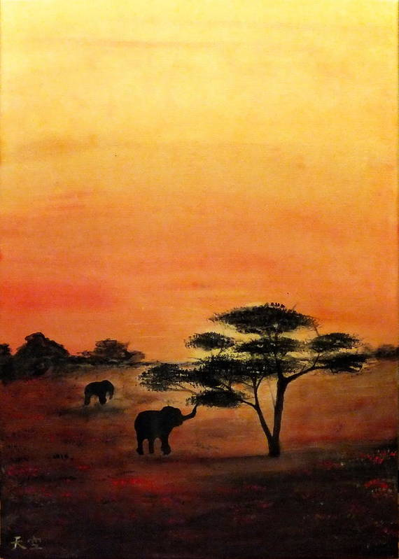 Landscape Savana Africa Acrylics Canvas Red Orange Yellow Sunset Sunrise Tree Elephant Giraffe Nature Desert Art Print featuring the painting Savana by Grigore Vlad