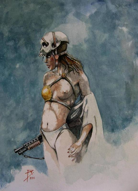 Watercolour Art Print featuring the painting Scull by Ray Agius